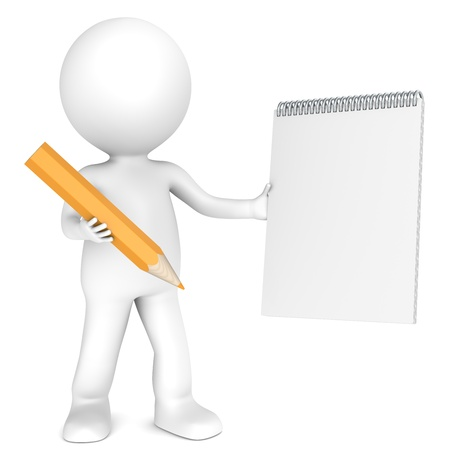 3D little human character holding a Blank Notepad and a Orange Pencil  Textured Paper  Copy Space  People series Stock Photo - 12703587