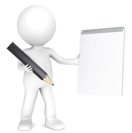 schreiben: 3D kleinen menschlichen Charakters, die eine leere Notizblock und einem schwarzen Stift Textured Paper Copy Space Menschen Serie