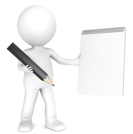 3D little human character holding a Blank notepad and a Black Pencil  Textured Paper  Copy Space  People series  photo