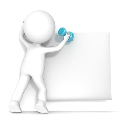 personnage: 3D petit personnage humain attachant un Sticky Note avec une punaise Blank Pour l'espace Les gens s�rie Copier Banque d'images