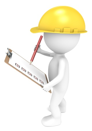 inspector: 3D little human character The Builder holding a Clip Board and a Pencil  Red and Yellow  People series