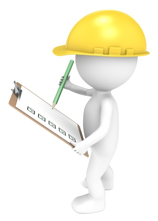 3D little human character The Builder holding a Clip Board and a Pencil  Green and Yellow  People series    photo
