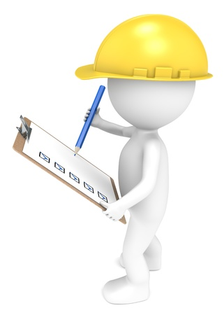 project management: 3D little human character The Builder holding a Clip Board and a Pencil  Blue and Yellow  People series