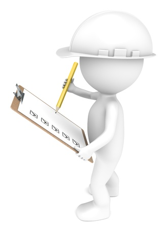 3D little human character The Builder holding a Clip Board and a Pencil  White and Yellow  People series    photo