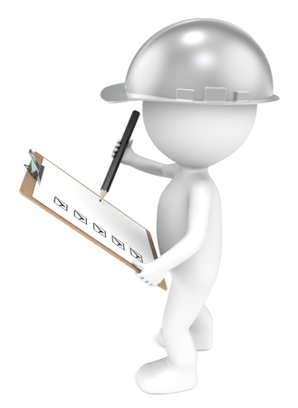 pen quality: 3D little human character The Builder holding a Clip Board and a Pencil  Retro Steel  People series