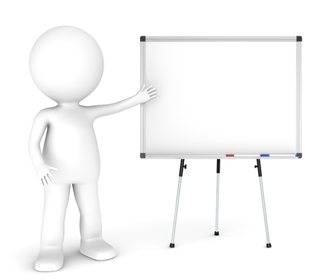 small business concept: 3D little human character with a blank whiteboard and 2 pens  Symmetric front view  People Series  Stock Photo