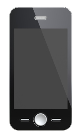 Black Smart Phone with blank Black Screen. Isolated photo