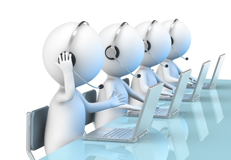 helpline: 3D little human character X 4 in a Call Center. Business People series.