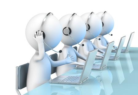 hotline: 3D weinig menselijk karakter X 4 in een Call Center. Mensen Uit Het Bedrijfsleven serie.