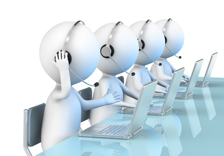 sales call: 3D little human character X 4 in a Call Center  Business People series