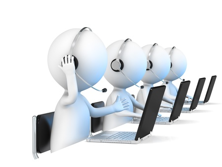 helpdesk: 3D little human character X 4 in a Call Center  White background  Business people series