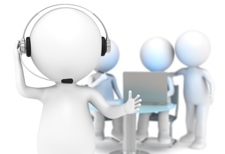 helpdesk: 3D little human character with a Headset  DOF background with people working  Business People series  Stock Photo