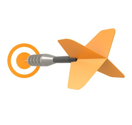 intention: Business Success Concept Orange Dart Arrow, isolated on white  Stock Photo