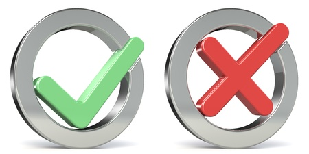 tickbox: Combo of Yes and No Check marks Stock Photo