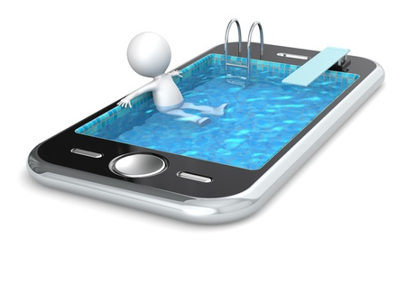 3d swimming pool: 3D little human character Relaxing in a Smart Phone made like a Pool  People series  Stock Photo