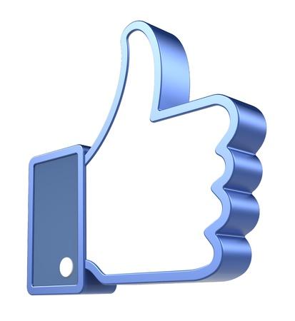 thumbs up icon: Como s�mbolo azul, sobre fondo blanco