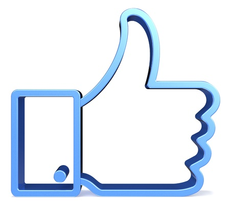 thumbs up icon: Vista frontal de un s�mbolo, como en el fondo blanco Foto de archivo