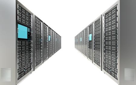 Row of Server Racks. White background. Stock Photo - 12703997