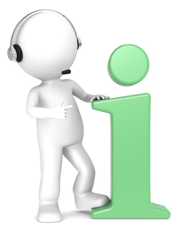 3D little human character with an Info Symbol and a Headset. Green. People series. Stock Photo - 12703990