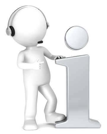 helpdesk: 3D little human character with an Info Symbol and a Headset. Metal. People series.