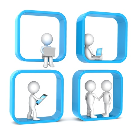 humourous: 3D little human character X 4  Abstract social network  Blue version  People series