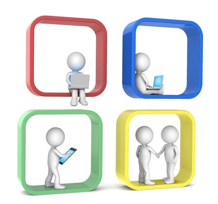 interaccion social: 3D car�cter humano poco de color X 4 Resumen de la red social de gente versi�n de la serie