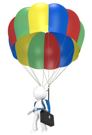 3D little human character with a Parachute and Briefcase. People series. photo