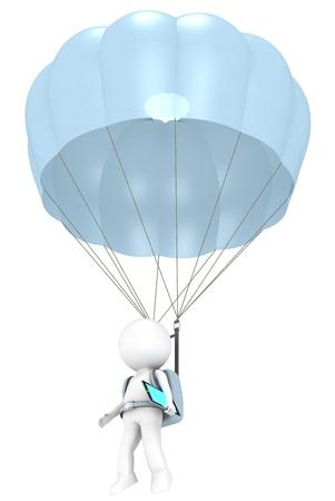spadochron: 3D mało ludzki charakter ze spadochronem i Pad Tablet serii Computer People