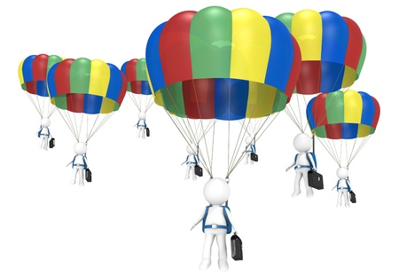 3D little human characters X 8 with Parachutes and Briefcases  People series  photo