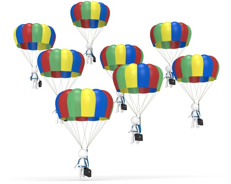 3D little human characters X 8 with Parachutes and Briefcases, just about to land  People series  photo