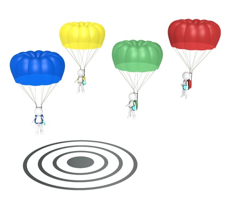 3D little human characters X 4 with Parachutes and Tablet Pad Computers  Landing on Target  People series Stock Photo - 12888322