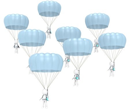 3D little human characters X 8 with Parachutes and Tablet Pad Computers  People series  photo