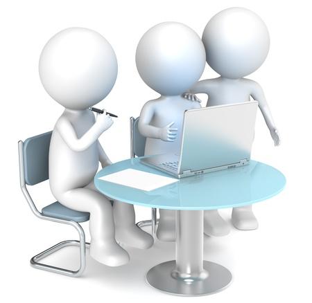reunion de trabajo: 3D peque�os personajes humanos X3 trabajo. Gente de negocios de la serie.