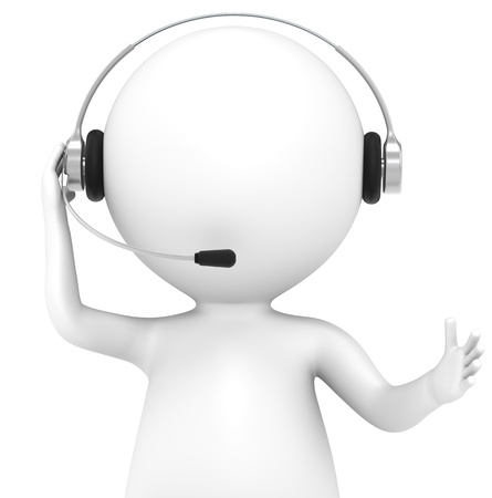 telephone headsets: 3D little human character with a Headset. Front view, isolated. People series. Stock Photo