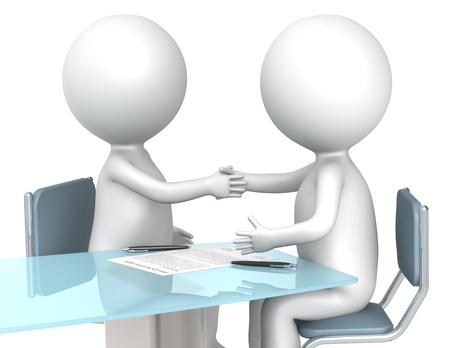 3D kleine menschliche Figuren X2 machen einen Deal. Business People Serie.