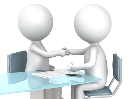 contract signing: 3D little human characters X2 making a deal. Business People series. Stock Photo