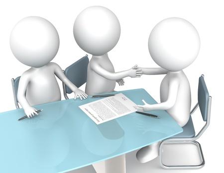 firmando: 3D los personajes humanos poco X3 hacer un trato. Gente de negocios de la serie. Foto de archivo