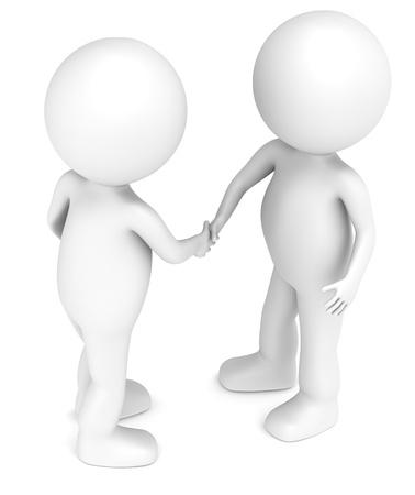 pacto: 3D peque�os personajes humanos apret�n de manos X2. La gente de la serie. Foto de archivo