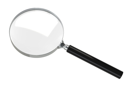 find glass: Simple Magnifying glass  Isolated on white background