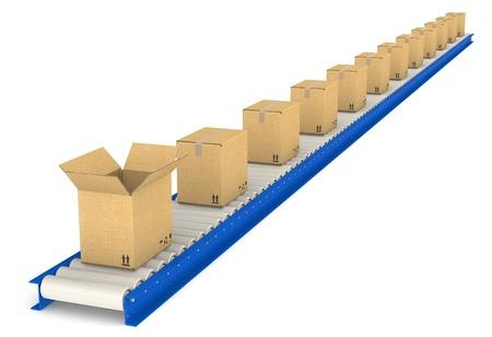 cinta transportadora: Cinta transportadora con cajas de cart�n abierta una pieza de textura de almac�n y log�stica de la serie Foto de archivo