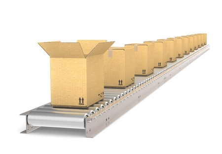 production line: Perspective view of a Conveyor Belt of steel with boxes  Front box open   Part of warehouse and logistics series