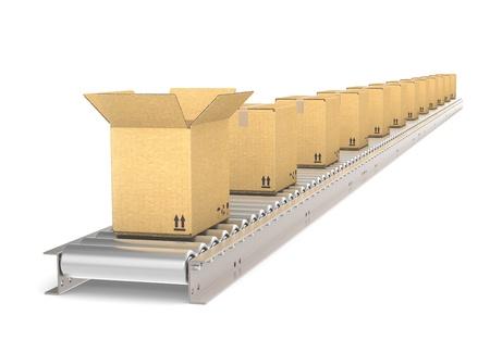 cinta transportadora: Vista en perspectiva de una cinta transportadora de acero con la parte delantera abierta caja de cajas de almacén y logística de la serie