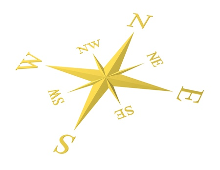 A golden Compass rose. White background. photo