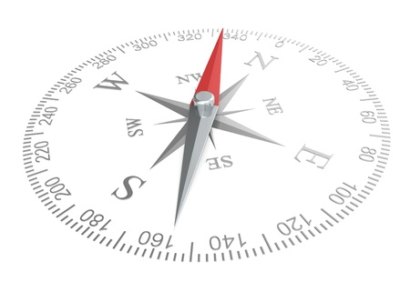 Compass dial of steel  White background