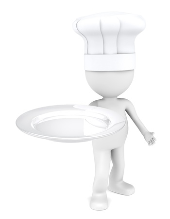 3D little human character the Chef with an empty plate. Copy space. photo