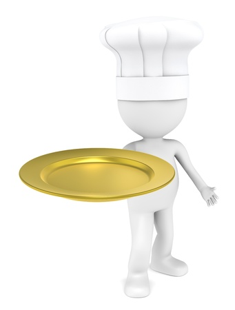3D little human character the Chef with an empty plate of Gold. photo