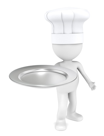 3D little human character the Chef with an empty plate of Silver. photo