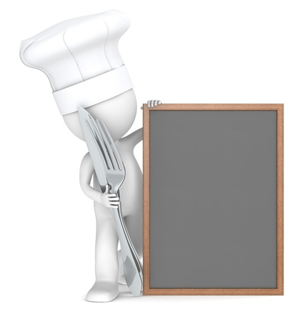 3D little human character the Chef with an empty Menu Board. Copy space. photo