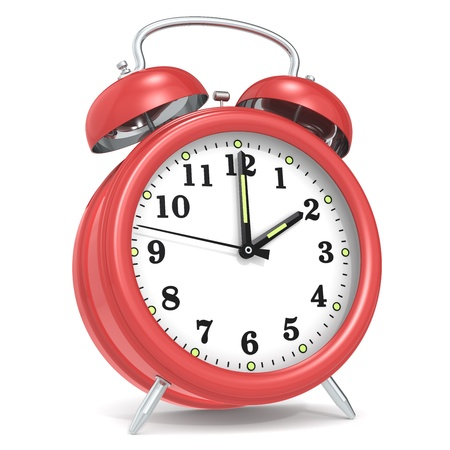 hurry up: Classic alarm clock. Red. Stock Photo