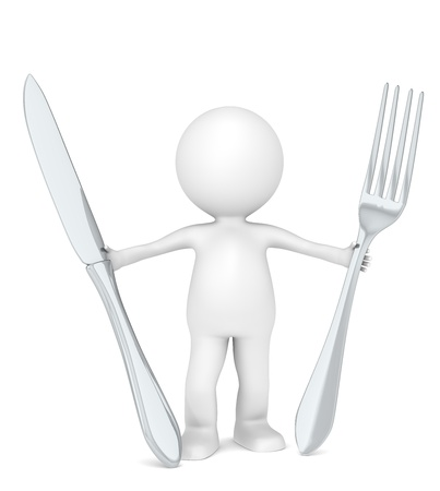 3D Little Human Character the Chef holding a fork and a knife . Stock Photo - 13331580